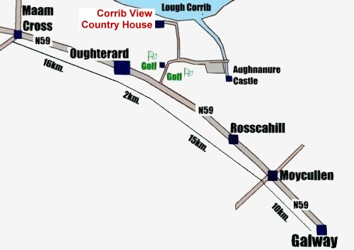 Accommodation in Oughterard, Connemara, west of Ireland and Co. Galway: Corrib View Country House, Lough Corrib, Oughterard, Co. Galway, Ireland.
